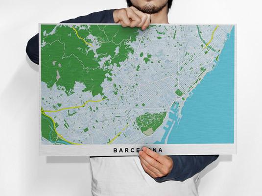 city map of Barcelona printed on brushed aluminium