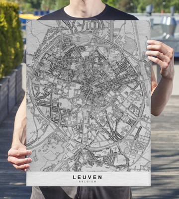 city map of leuven as a design object - printed on brushed aluminium