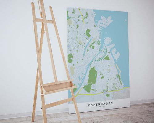 stadskaart of stratenplan van kopenhagen gedrukt op canvas