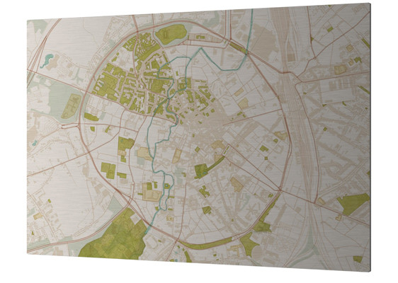 custom made city map printed on brushed aluminium