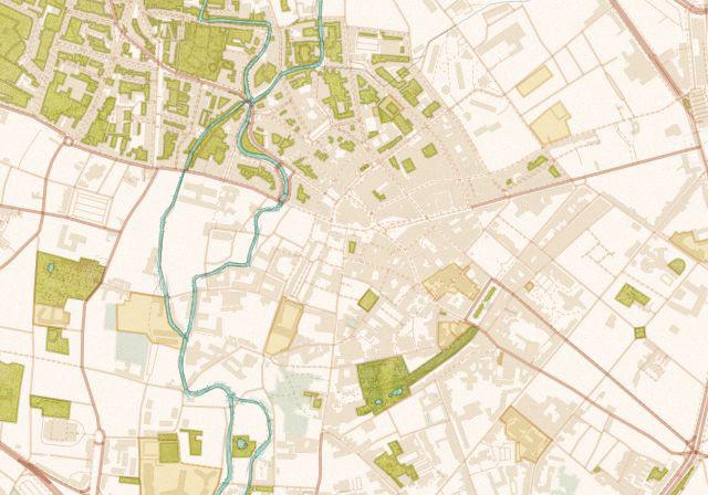 detail van kaart of stratenplan op maat van stad in design Vintage